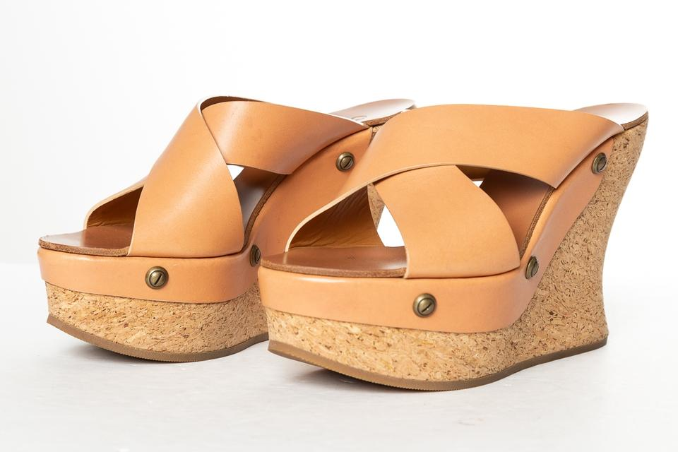eccc347b8f Chloé Tan Leather Cork Wedge Sandals Size EU 38 (Approx. US 8) Regular (M,  B) - Tradesy