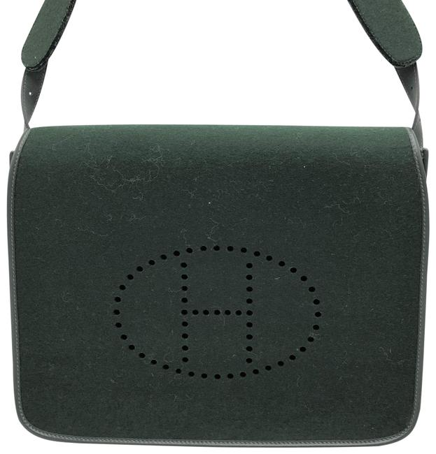 Item - Evelyne Vintage Dark Green Wool Messenger Bag
