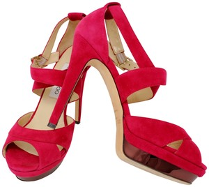 Jimmy Choo Suede Designer Dustbags Mirror Stiletto Red Pumps