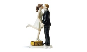 A Kiss and We're Off Figurine Precious Couple Top Cake Topper