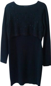 Carole Little Vintage Beaded 1980s Sweater Sequined 80s Semi Formal Dress