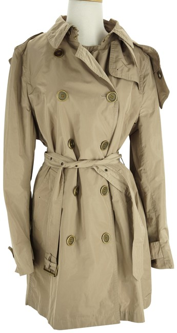 Item - Beige Sisal Polyester Balmoral Hooded Double Breasted Check Coat Size 14 (L)