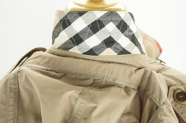Burberry Brit Beige Sisal Polyester Balmoral Hooded Double Breasted Check Coat Size 14 (L) Burberry Brit Beige Sisal Polyester Balmoral Hooded Double Breasted Check Coat Size 14 (L) Image 4