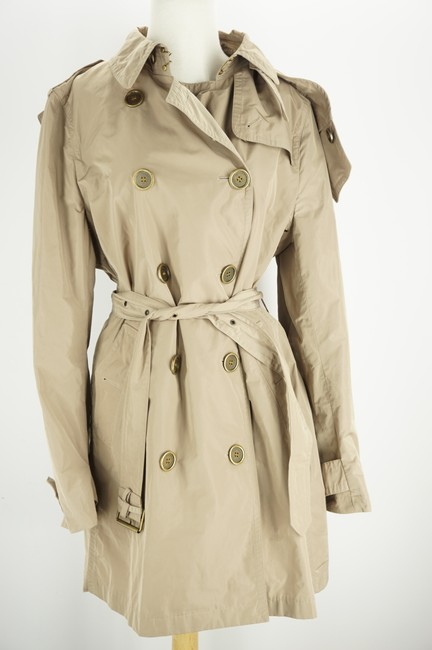 Burberry Brit Beige Sisal Polyester Balmoral Hooded Double Breasted Check Coat Size 14 (L) Burberry Brit Beige Sisal Polyester Balmoral Hooded Double Breasted Check Coat Size 14 (L) Image 8