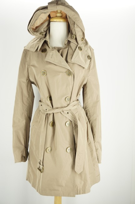 Burberry Brit Beige Sisal Polyester Balmoral Hooded Double Breasted Check Coat Size 14 (L) Burberry Brit Beige Sisal Polyester Balmoral Hooded Double Breasted Check Coat Size 14 (L) Image 9