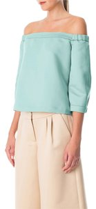 Tibi Satin Bohemian Chic Casual Top Mint