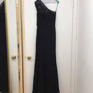 Jim Hjelm Occasions Black Lace and Chiffon One Shoulder Gown Modern Bridesmaid/Mob Dress Size 6 (S)