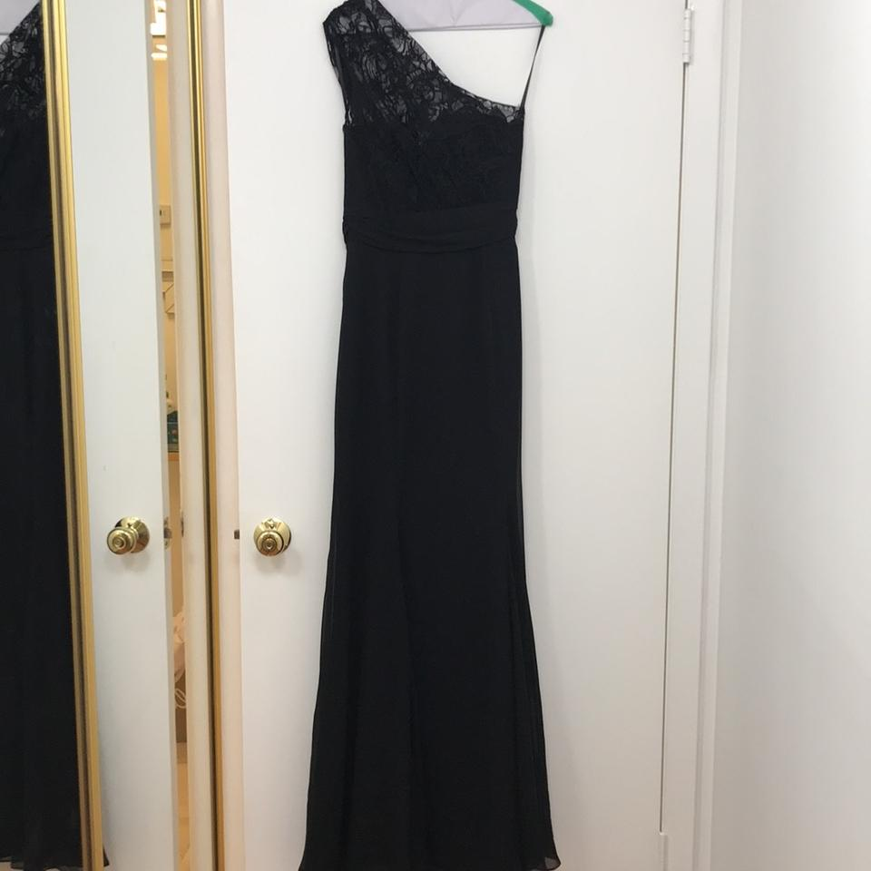 2c26ae1c4a4 Jim Hjelm Occasions Black Lace and Chiffon One Shoulder Gown Modern  Bridesmaid Mob Dress