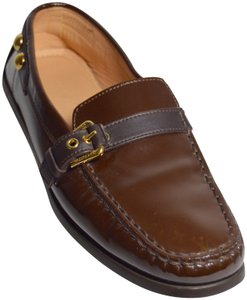 Louis Vuitton Loafers Buckled Italian Dust Bag Brown Flats