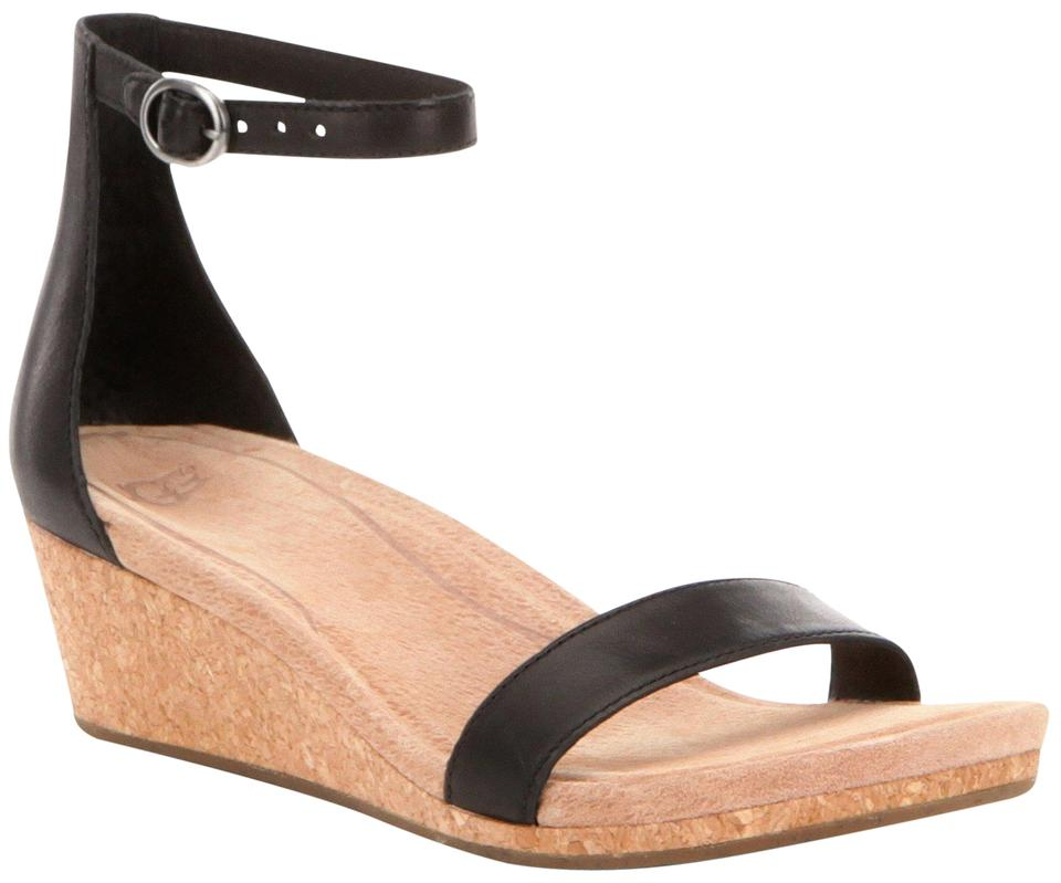 0dd11049150 UGG Australia Black Leather Cork Suede Wood Heels Sandals Wedges ...
