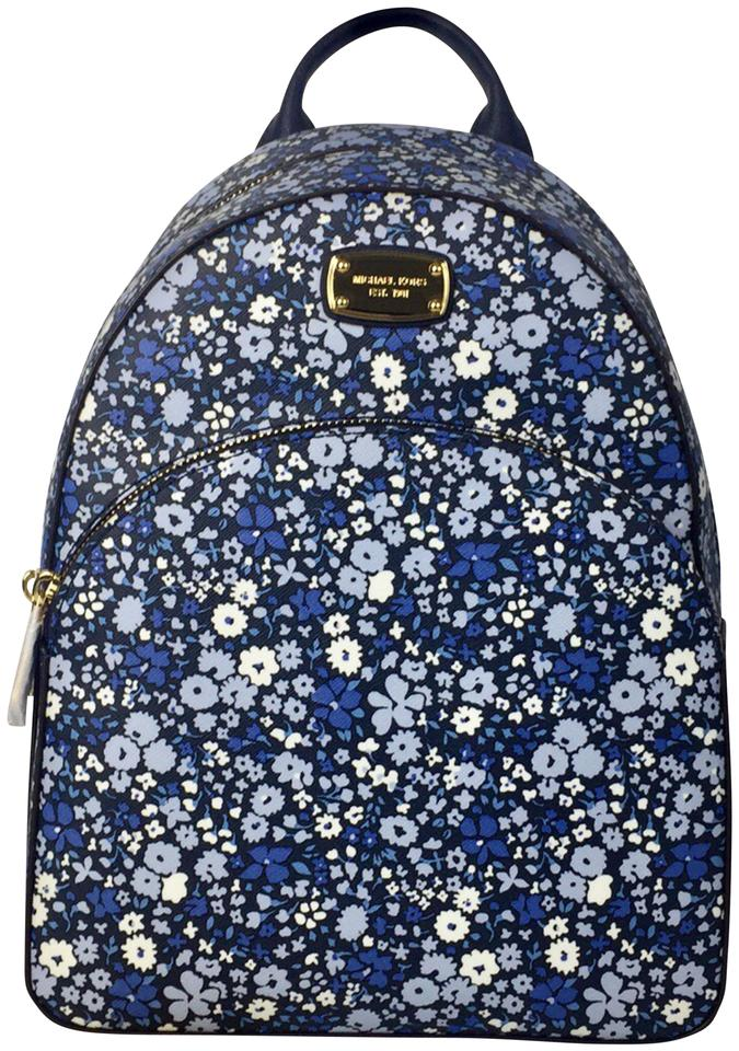 e7fbe8404c78 Michael Kors Abbey Medium Floral Navy Leather Backpack - Tradesy