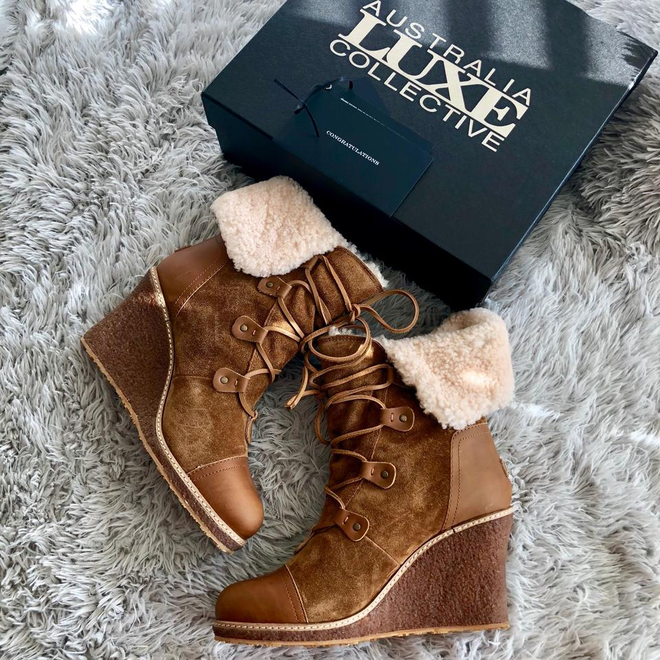2fab4d6fe35 Australia Luxe Collective Chestnut Mona Genuine Shearling Wedge ...