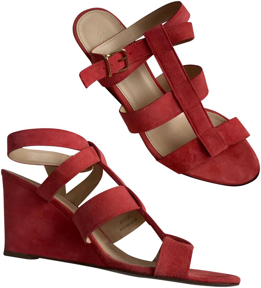 315d3083295 J.Crew Coral Red Leather Strappy Open Toe Wedge Sandal Heels Pumps ...