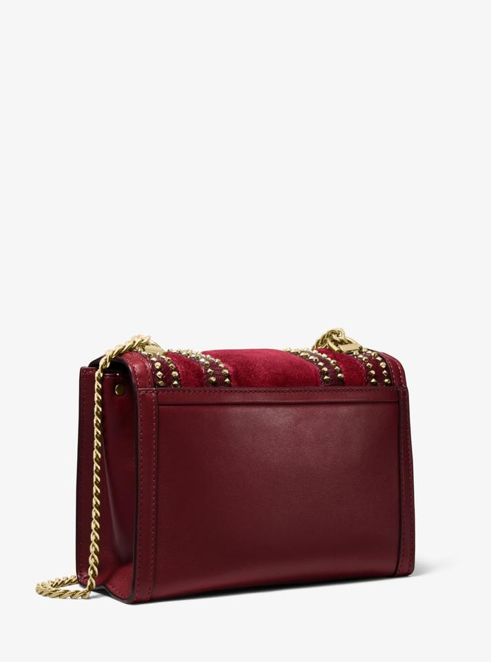 af47780078a4 Michael Kors Whitney Large Mixed-media Convertible Maroon Leather ...