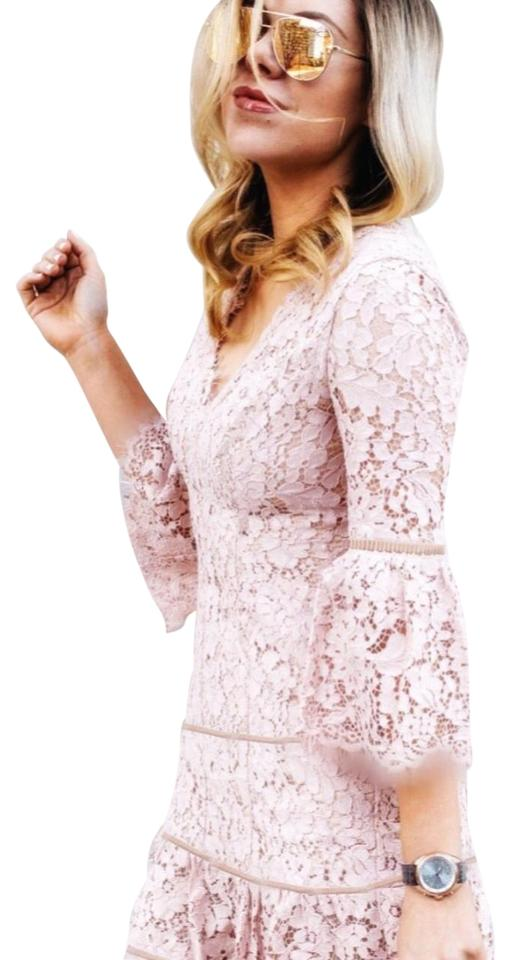028c3b2a108bd Eliza J New Blush Pink Bell Sleeve Lace Fit & Flare Cocktail Dress