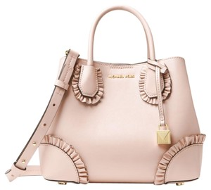 52bae8a7cbdd5d Michael Kors Leather Black Satchel in soft pink