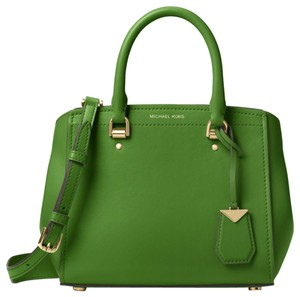 Michael Kors Leather True Satchel in Green