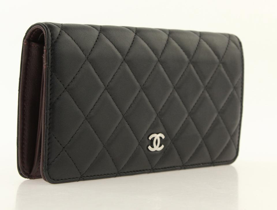 c8f7f07ee3a5 Chanel Black Yen Diamond Quilted Lambskin Leather Wallet 24% off retail
