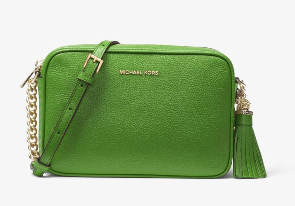 60f483248c2c05 Michael Kors Ginny Medium Camera True Green Leather Cross Body Bag ...