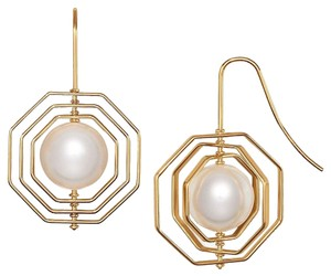 Tory Burch NEW TORY BURCH DANGLE PEARL GOLD EARRINGS DUST BAG RARE NWT