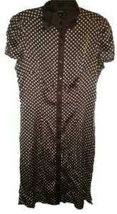 bebe short dress brown/tan Silk Polka Dot Classic on Tradesy