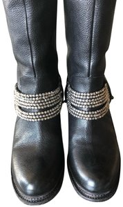 Vera Wang Lavender Label Studded Leather Moto Black Boots