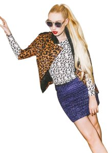 Tibi Leopard Luxury Textured Mini Geniune Stretchy Chic Mini Skirt Blue Leopard