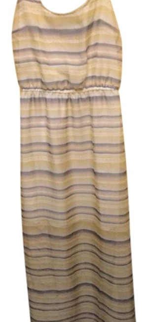 Item - Yellow and Blue With Mini Lining Long Casual Maxi Dress Size 4 (S)