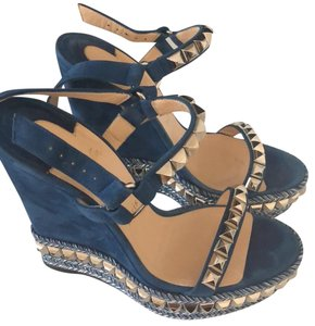 Christian Louboutin Silver Studs blue Wedges