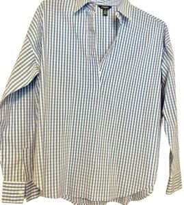 Chaps Button Down Shirt Gingham - baby blue and white