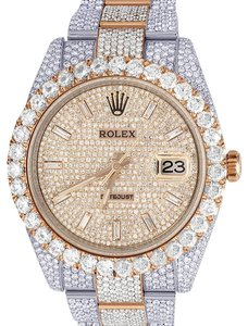 Rolex Mens Datejust Il 126331 41MM 18K Everose Iced Out Diamond 29.55 Ct