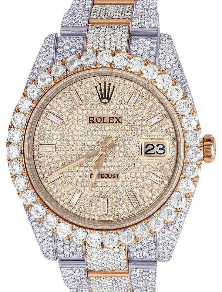 6379dbf4cf57a Rolex New Rose Gold/ Steel Mens Datejust Il 126331 41mm 18k Everose Iced  Out Diamond 29.55 Ct Watch 57% off retail
