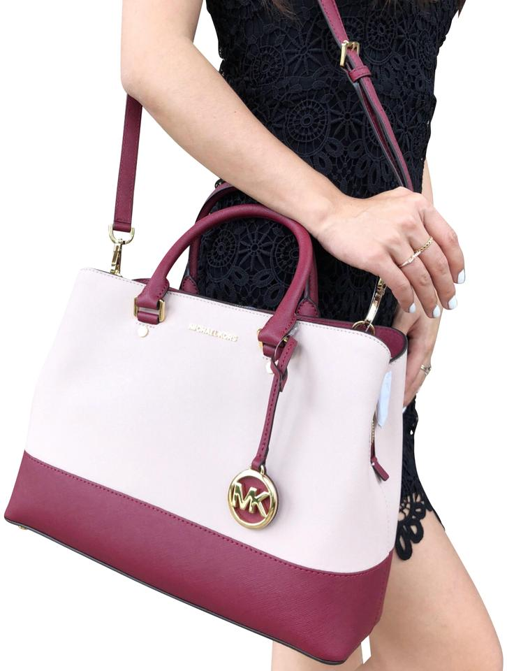 7d7b518d518 Michael Kors Large Savannah Mulberry Red Pink Leather Satchel - Tradesy