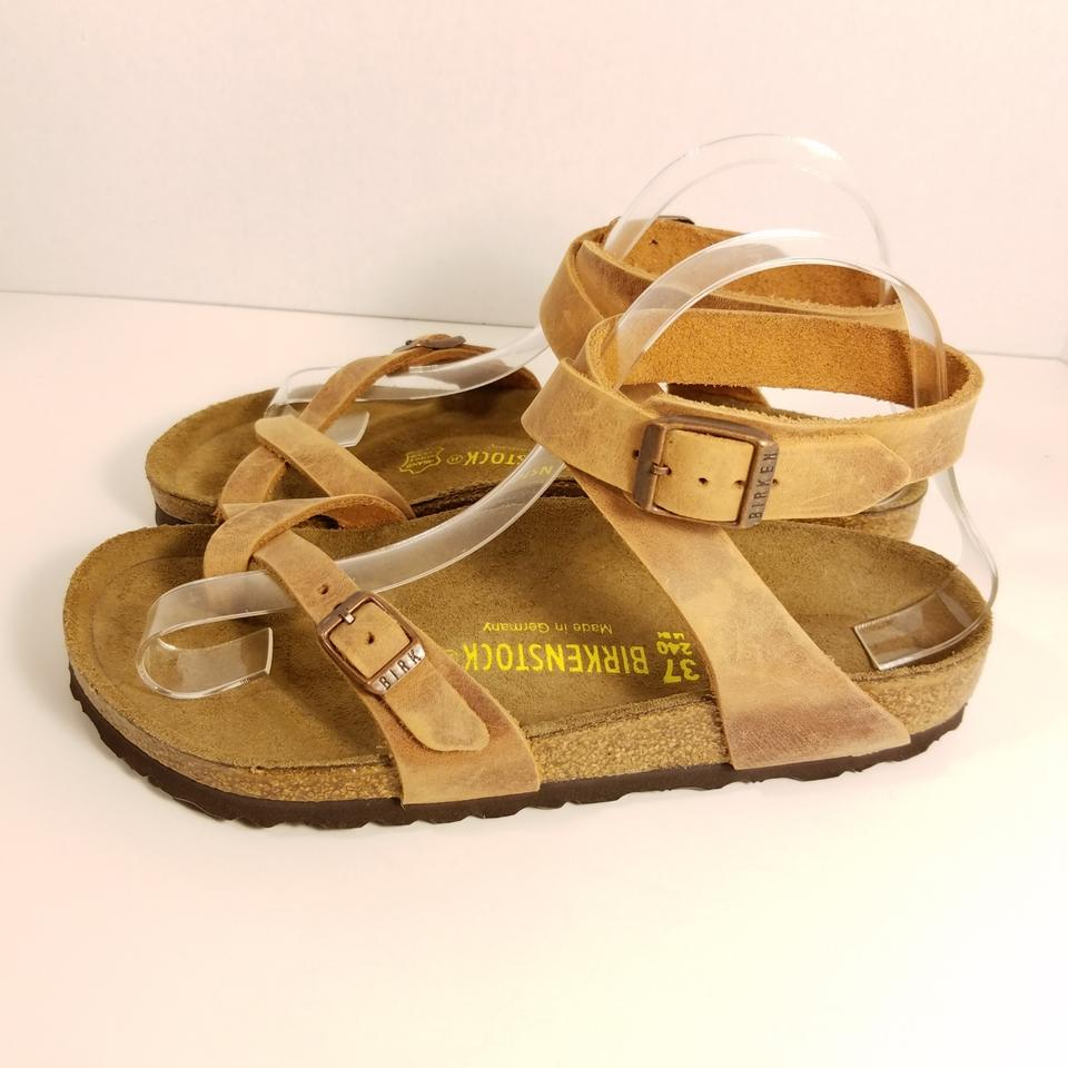d2949b2ae15a6 Birkenstock Tobacco Yara Oiled Leather Sandals Size US 6 Wide (C