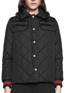 Gucci Coat Nylon Quilted Black Jacket