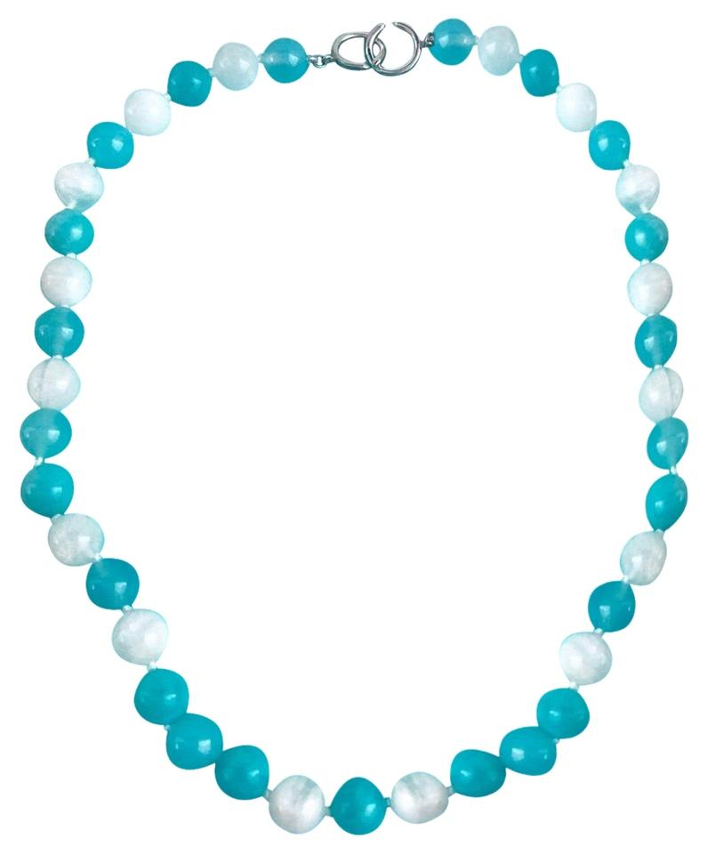 758198d6fcaa Tiffany   Co. Picasso Silver Amazonite Blue Moonstone Gemstone 10mm Bead  Necklace Image 0 ...