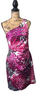 Kay Unger short dress Pink, Purple, Black, and White One Shoulder Rusching Flattering on Tradesy