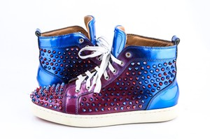 Christian Louboutin Blue Louis Spikes Flat Gradual Change Sneakers Pu Shoes