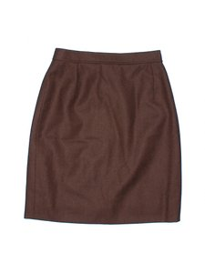 Valentino Miss V Wool Pencil Office Skirt Brown