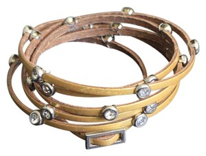 gold leather n crystals wrap around bracelet