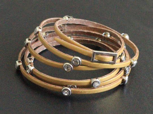 Other gold leather & crystals wrap around bracelet Image 1
