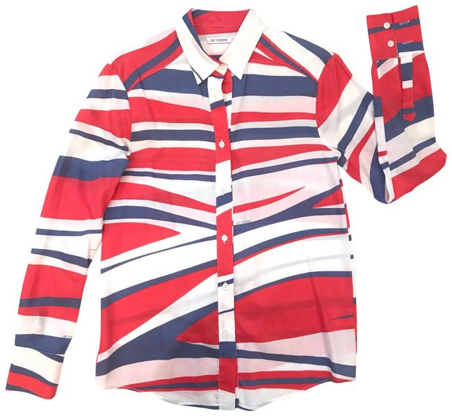 Item - White/Red/Blue Gf 38 Button-down Top Size 4 (S)