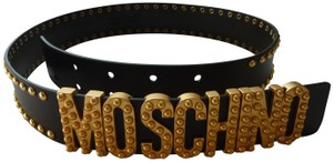 Moschino Moschino Studded Leather Belt W/Gold Lettering Logo
