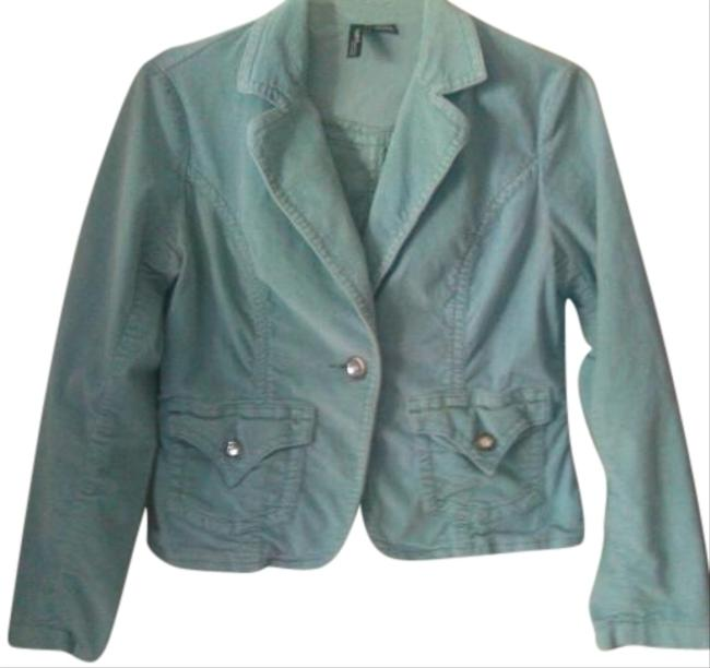Mixit Velvet Mint Green Vintage Petite 1980s 80s Retro Stretchy 8 Timeless All Season All Occasion Date Soft Pastels Date Light Aqua Blue Blazer