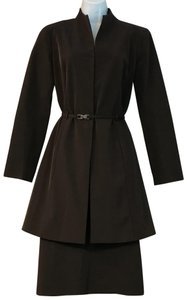Jenne Maag Jenne Maag Dark Brown Belted Skirt Suit M