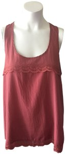 Nordstrom Lace Trim Lace Layer Romantic Detailed Back Top Rose