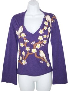 Joystick Cotton Embroidered Johnny Was Floral Birds T Shirt Purple