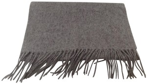 Saint Laurent YSL gray wool/cashmere scarf
