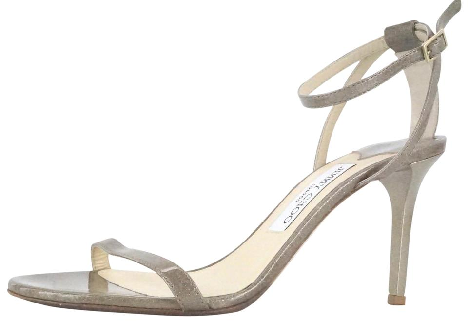 Jimmy Choo Beige Minny Metallic Strap Glitter Patent Leather Ankle Strap Metallic Sandals bb53f1