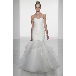 Amsale Ivory Carson Strapless Lace Gown Modern Wedding Dress Size 12 (L)